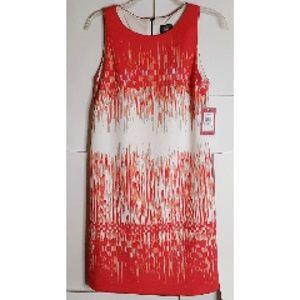 Vince Camuto Sheath Dress Sz 6 NWT Peach/Orange/Wt